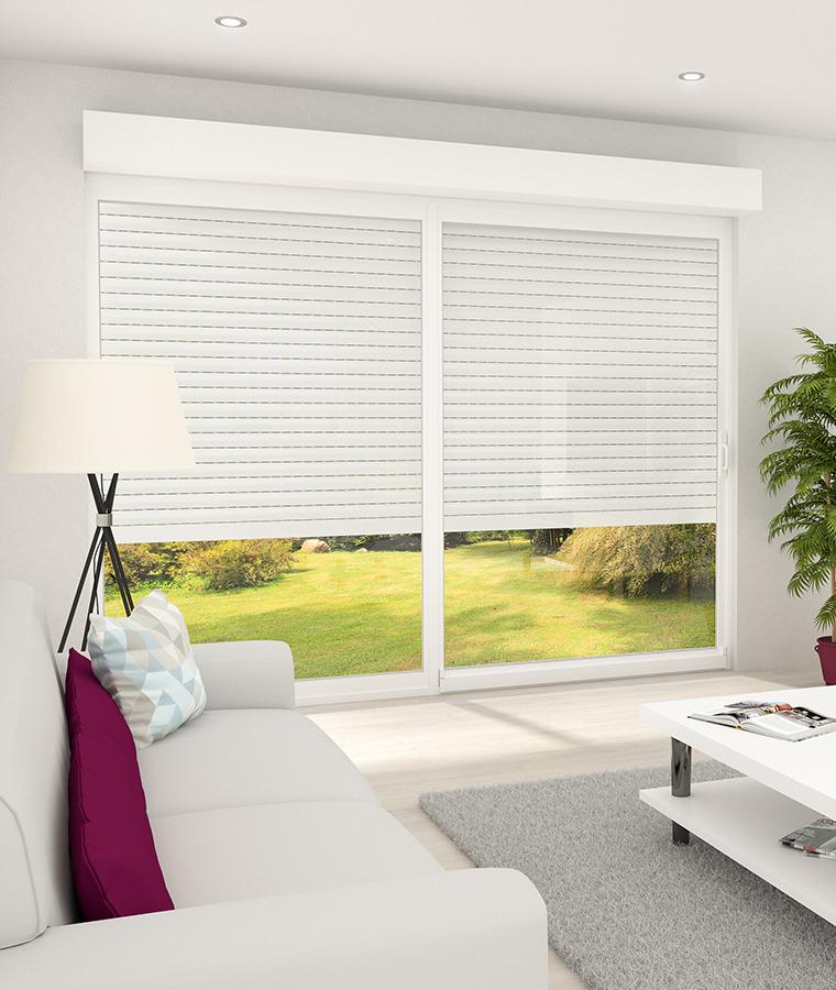baie vitr e pvc avec volet roulant stores discount. Black Bedroom Furniture Sets. Home Design Ideas