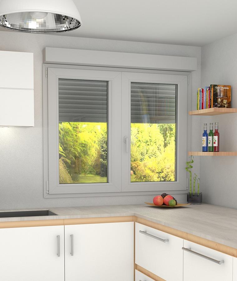 Fenêtre PVC volet intégré avec imposte