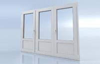 Porte fenêtre 3 vantaux avec soubassement
